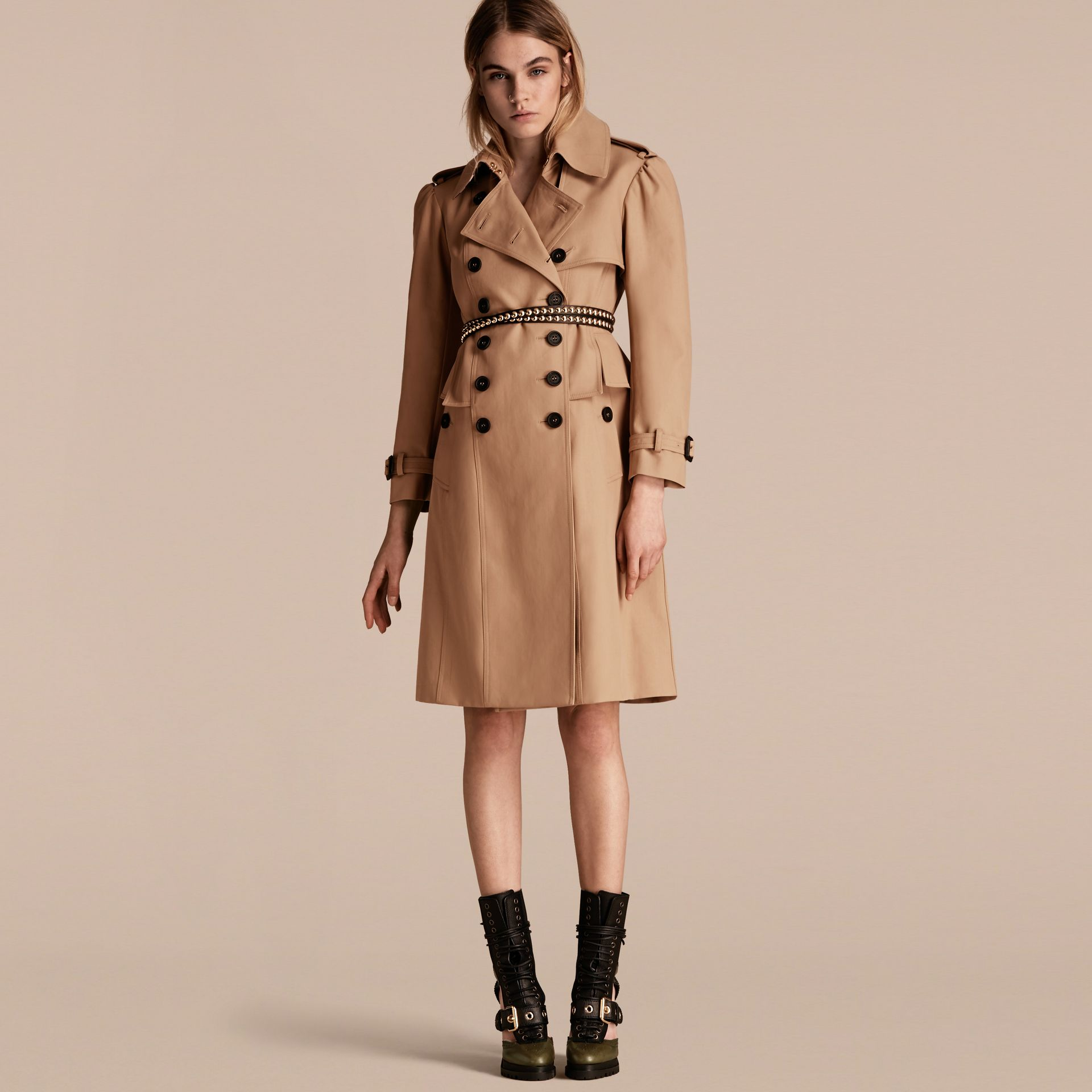 Honey Cotton Gabardine Trench Coat with Notched Waist - gallery image 1