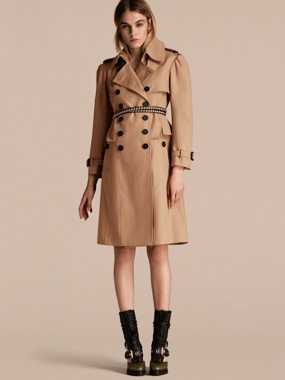 Cotton Gabardine Trench Coat with Notched Waist