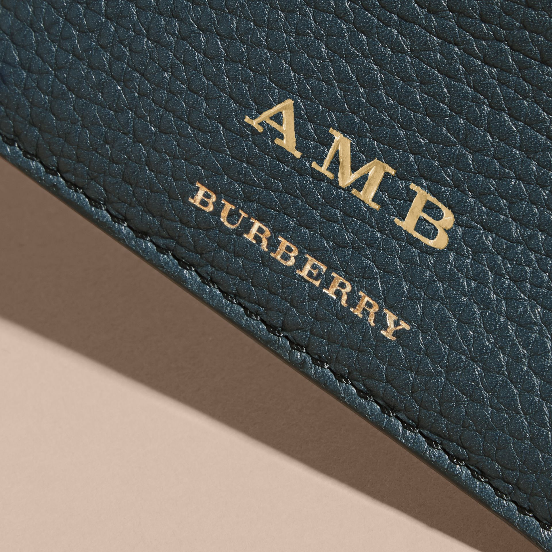 House Check and Grainy Leather Card Case in Storm Blue | Burberry - gallery image 7