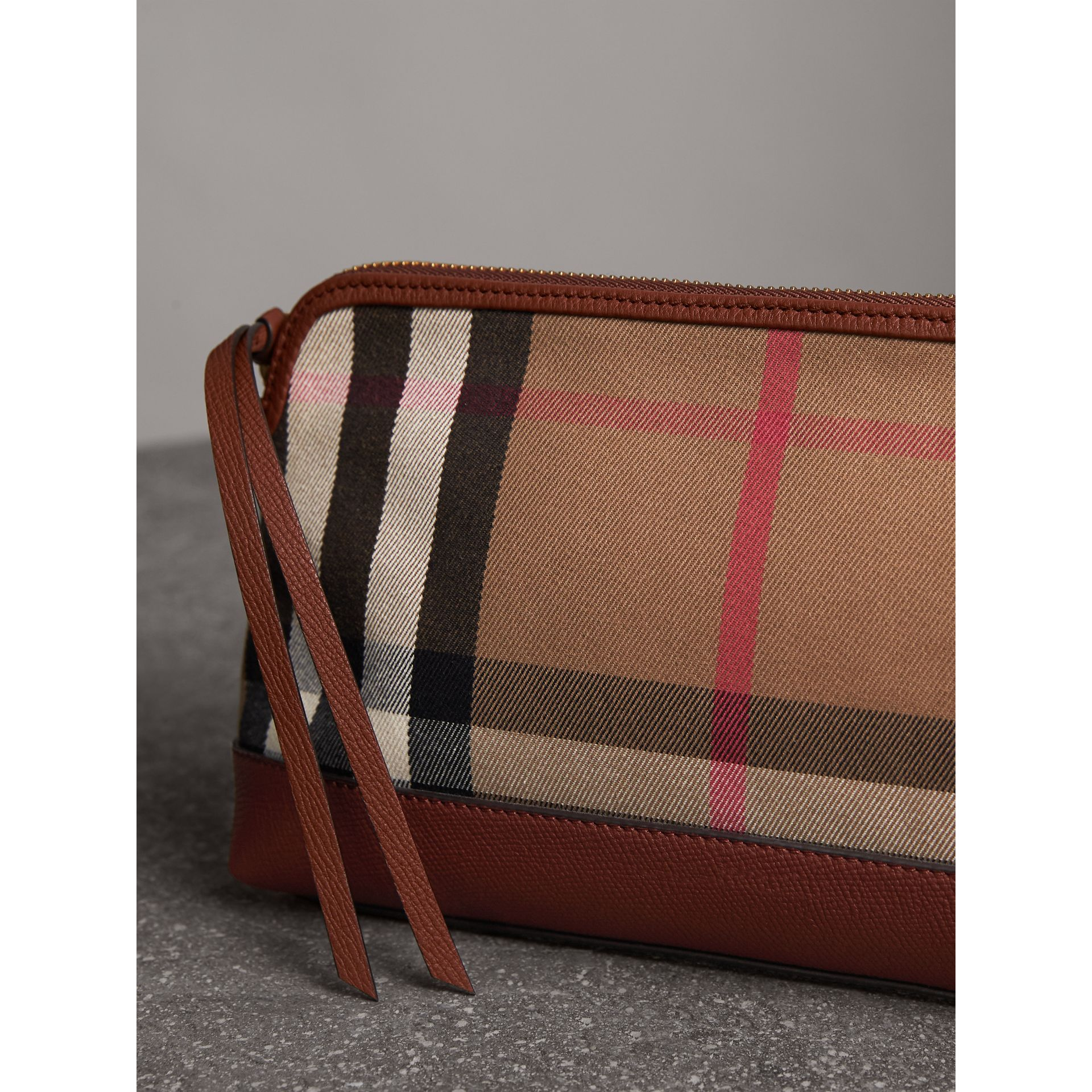 House Check and Leather Clutch Bag in Tan - Women | Burberry Canada - gallery image 7