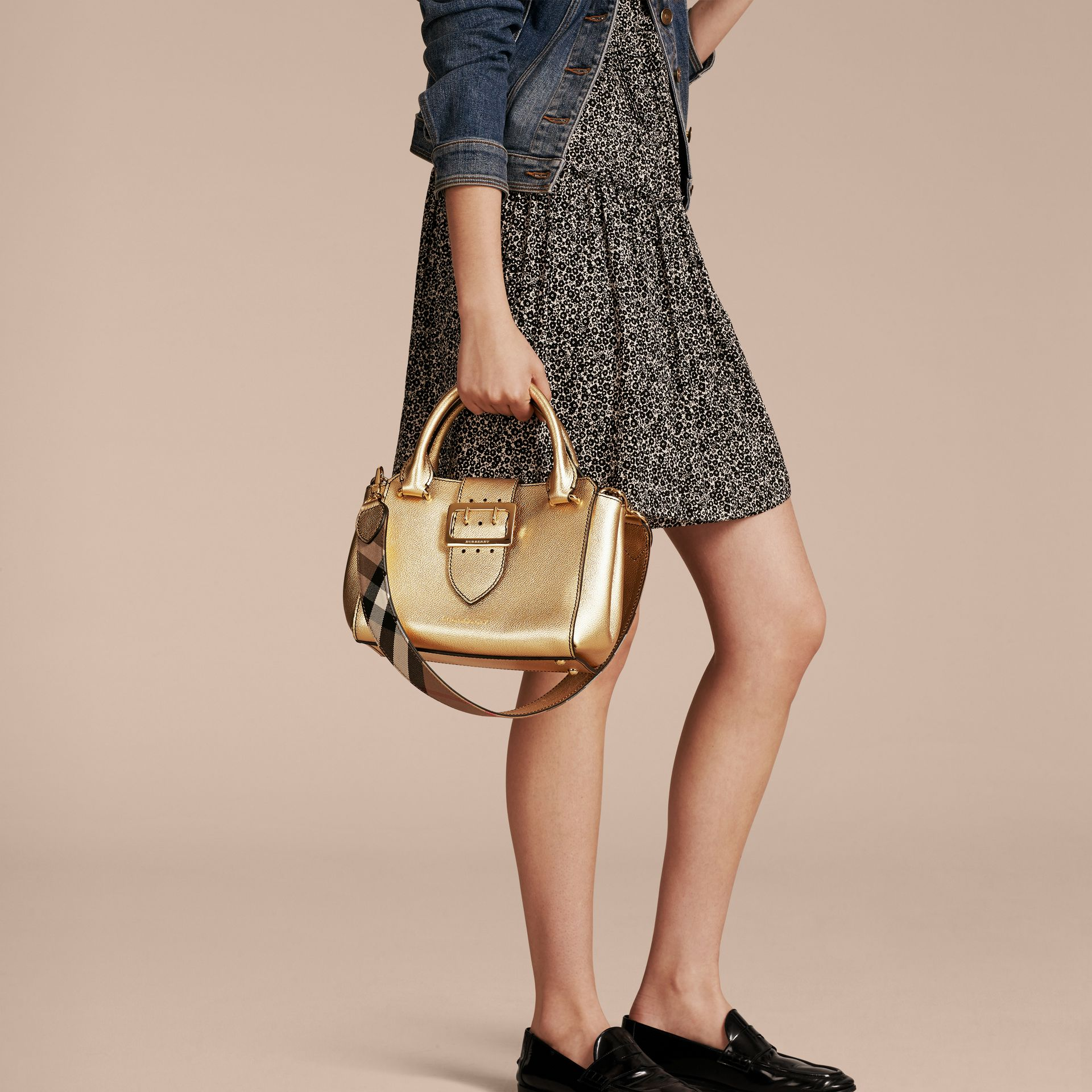 Gold The Small Buckle Tote in Metallic Leather - gallery image 3