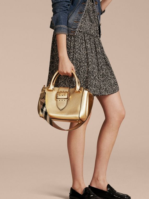 Gold The Small Buckle Tote in Metallic Leather - cell image 2