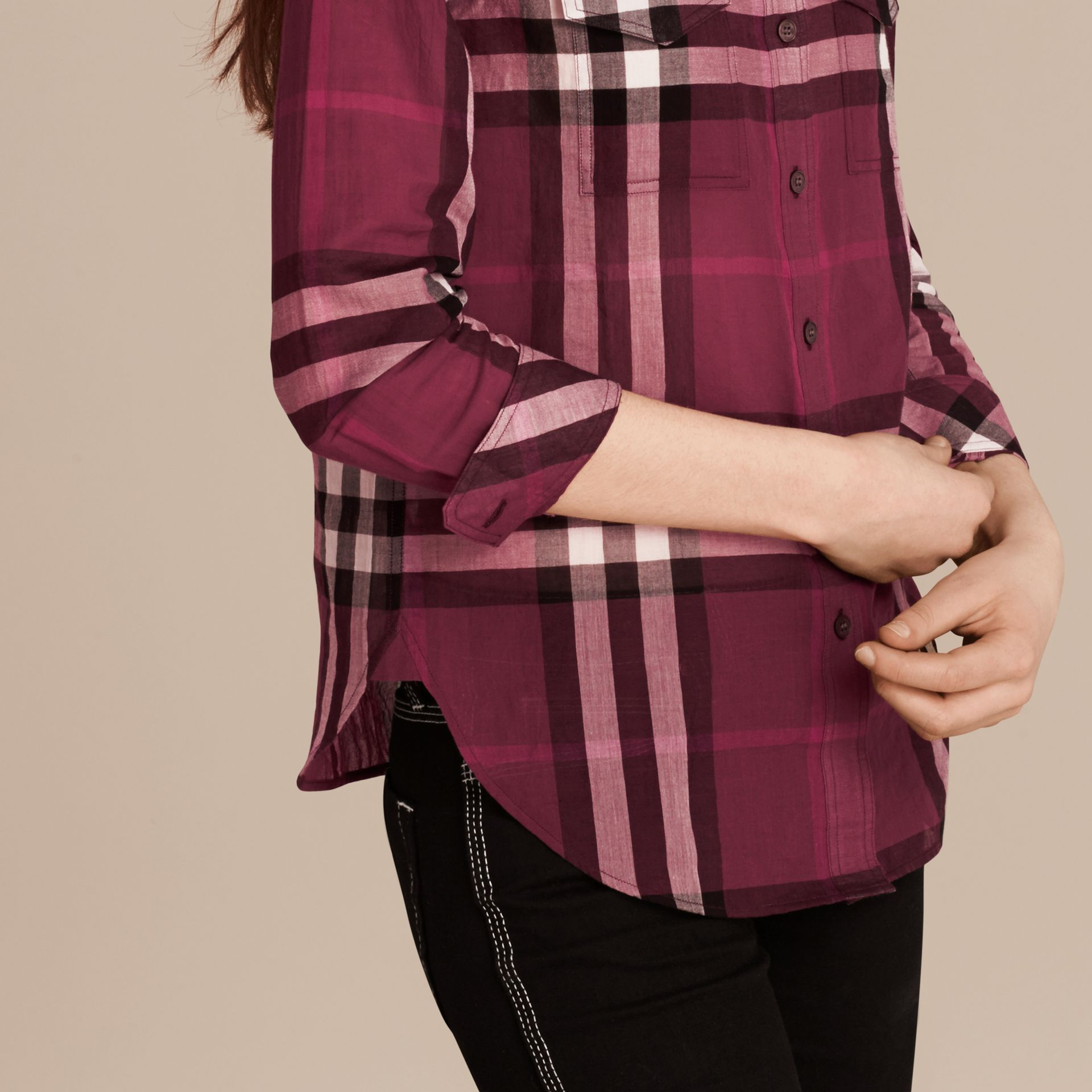 Magenta Check Cotton Shirt Magenta - gallery image 5