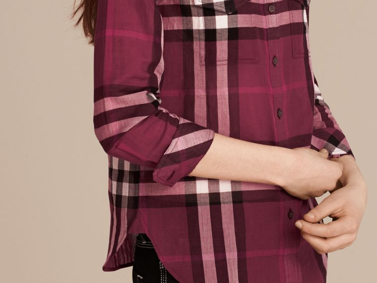 Magenta Check Cotton Shirt Magenta - cell image 4