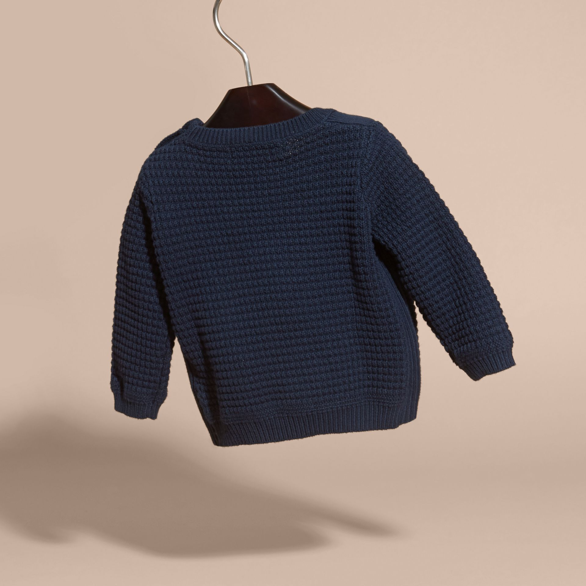 Waffle Knit Cotton Sweater in Navy | Burberry - gallery image 3