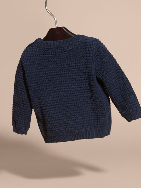 Waffle Knit Cotton Sweater in Navy | Burberry - cell image 3