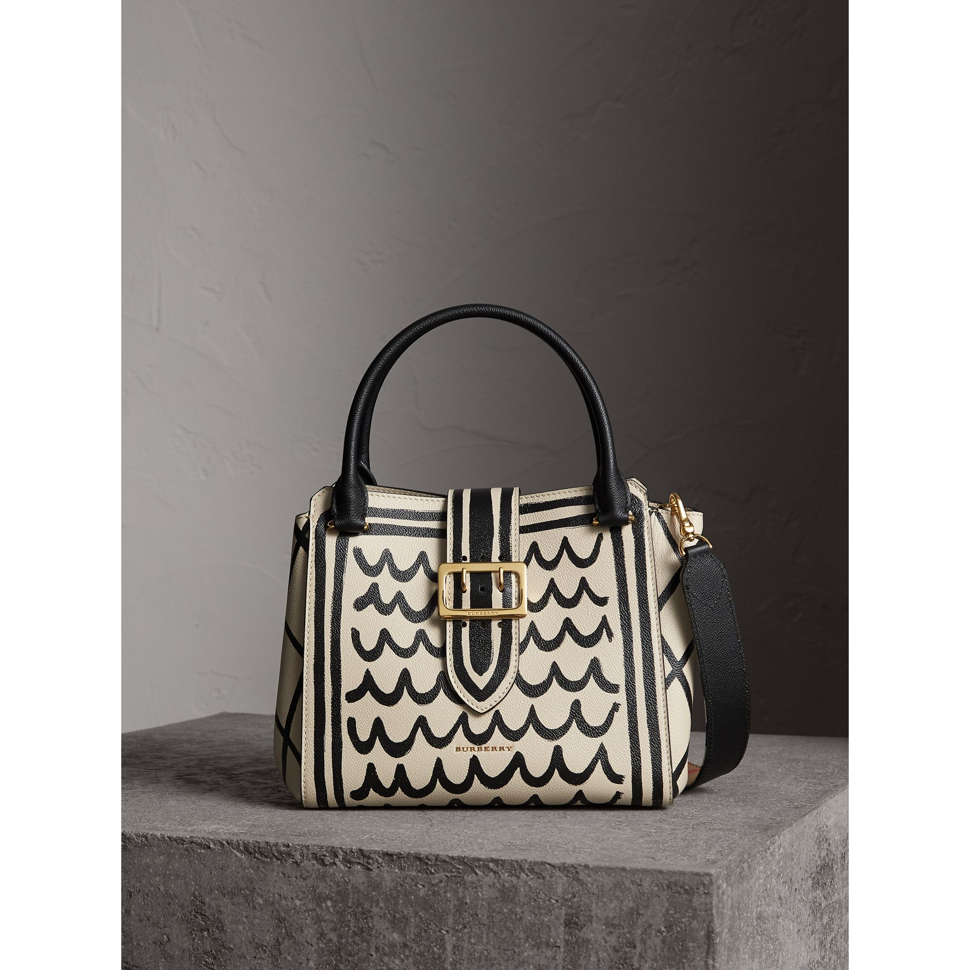 The Medium Buckle Tote in Trompe L'oeil Print Leather in Limestone - Women | Burberry Singapore - gallery image 1
