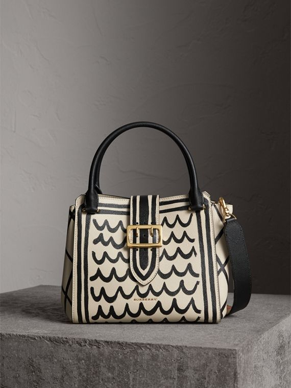 The Medium Buckle Tote in Trompe L'oeil Print Leather in Limestone