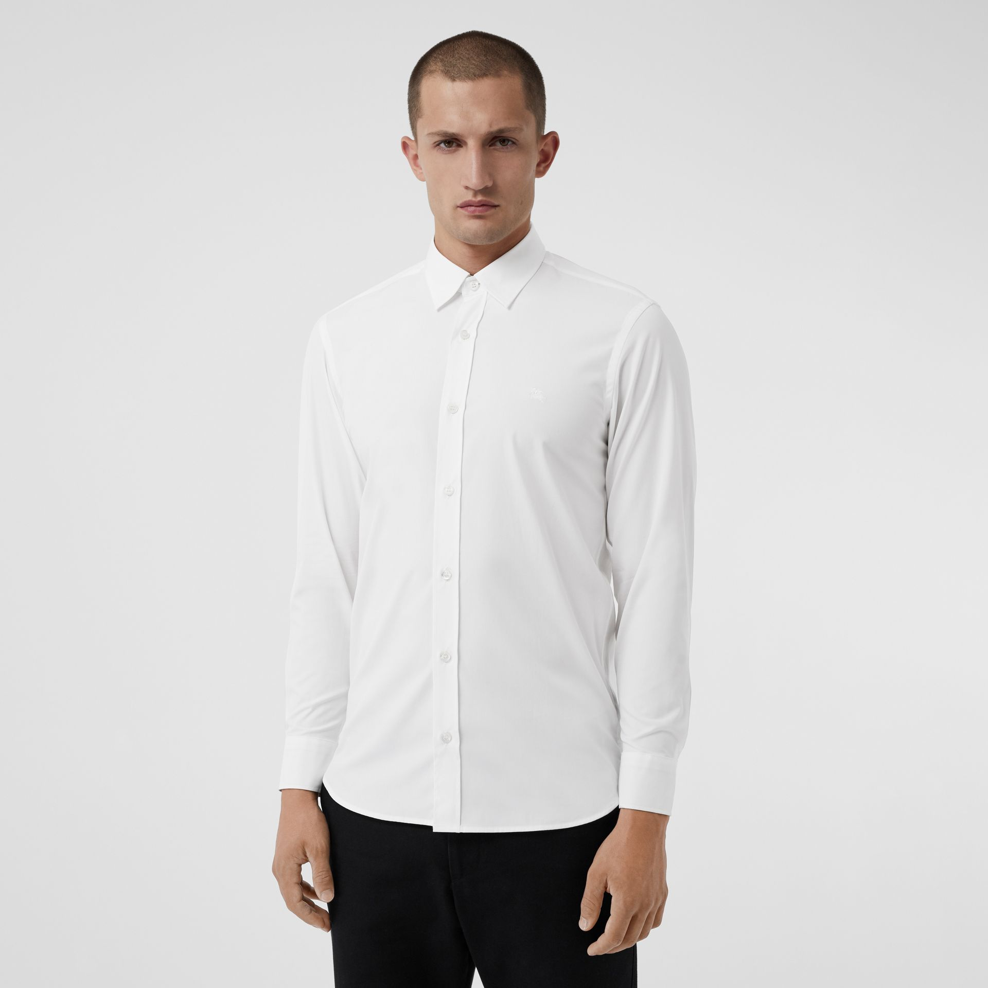 Check Cuff Stretch Cotton Poplin Shirt in White - Men | Burberry - gallery image 0