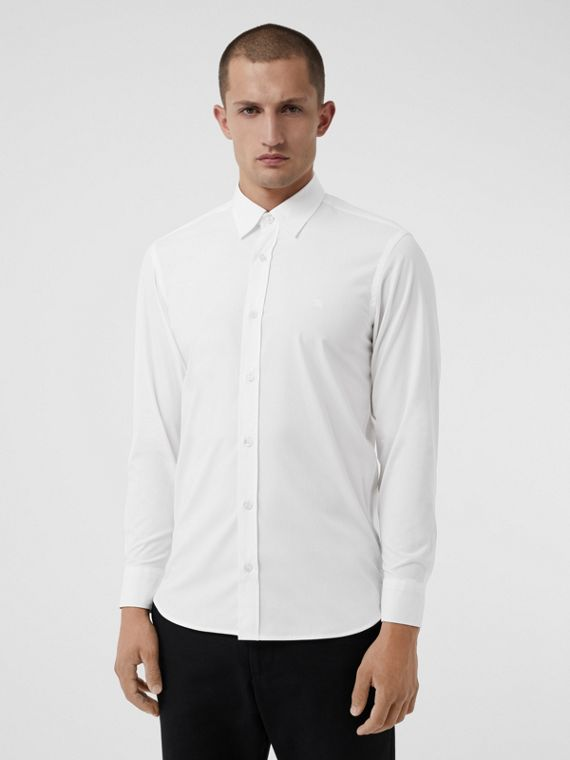 Check Cuff Stretch Cotton Poplin Shirt in White