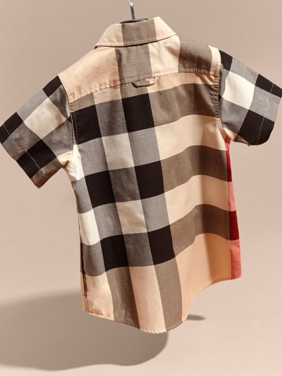 Short-sleeve Check Cotton Shirt in New Classic - Boy | Burberry - cell image 3
