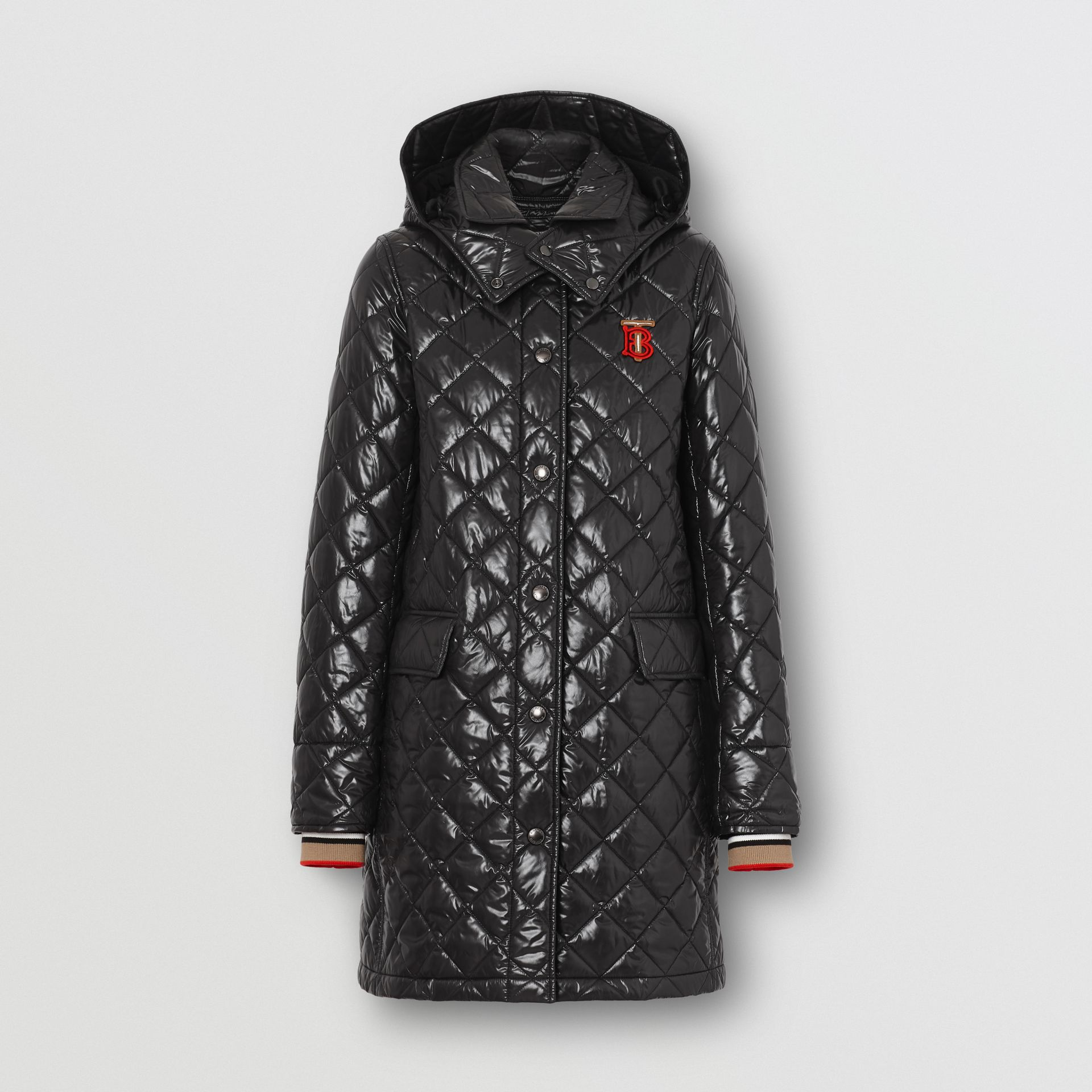 Detachable Hood Monogram Motif Quilted Coat in Black - Women | Burberry - gallery image 0