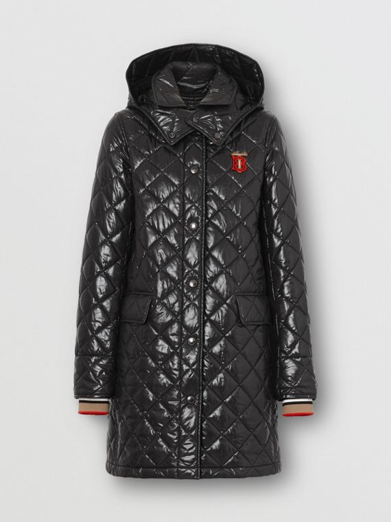 Detachable Hood Monogram Motif Quilted Coat in Black