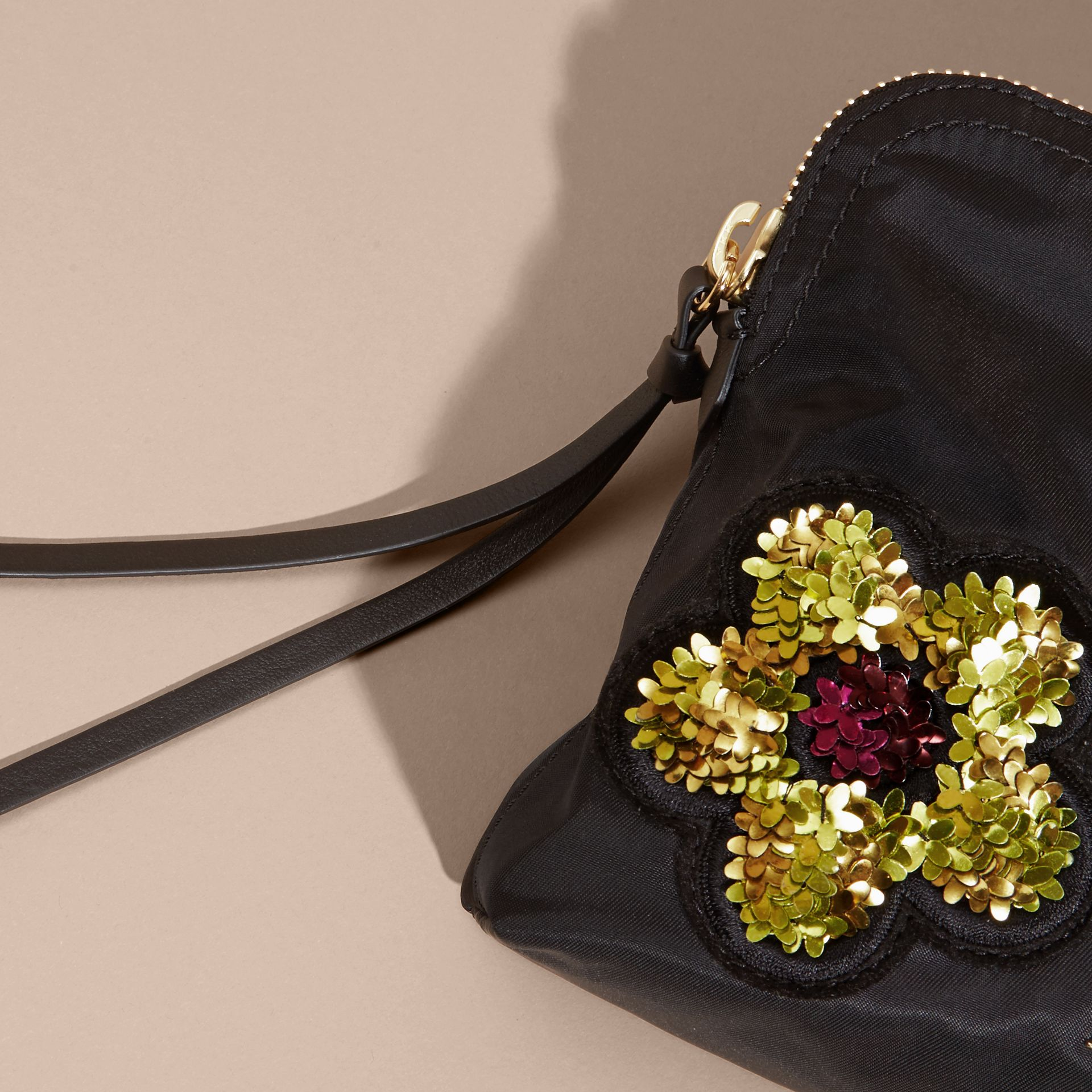 Black Large Zip-top Floral Embellished Pouch - gallery image 2