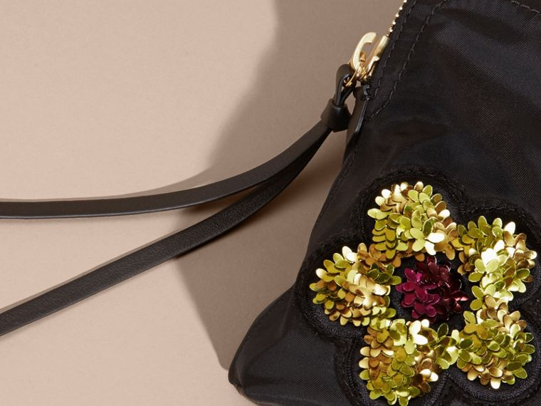 Black Large Zip-top Floral Embellished Pouch - cell image 1