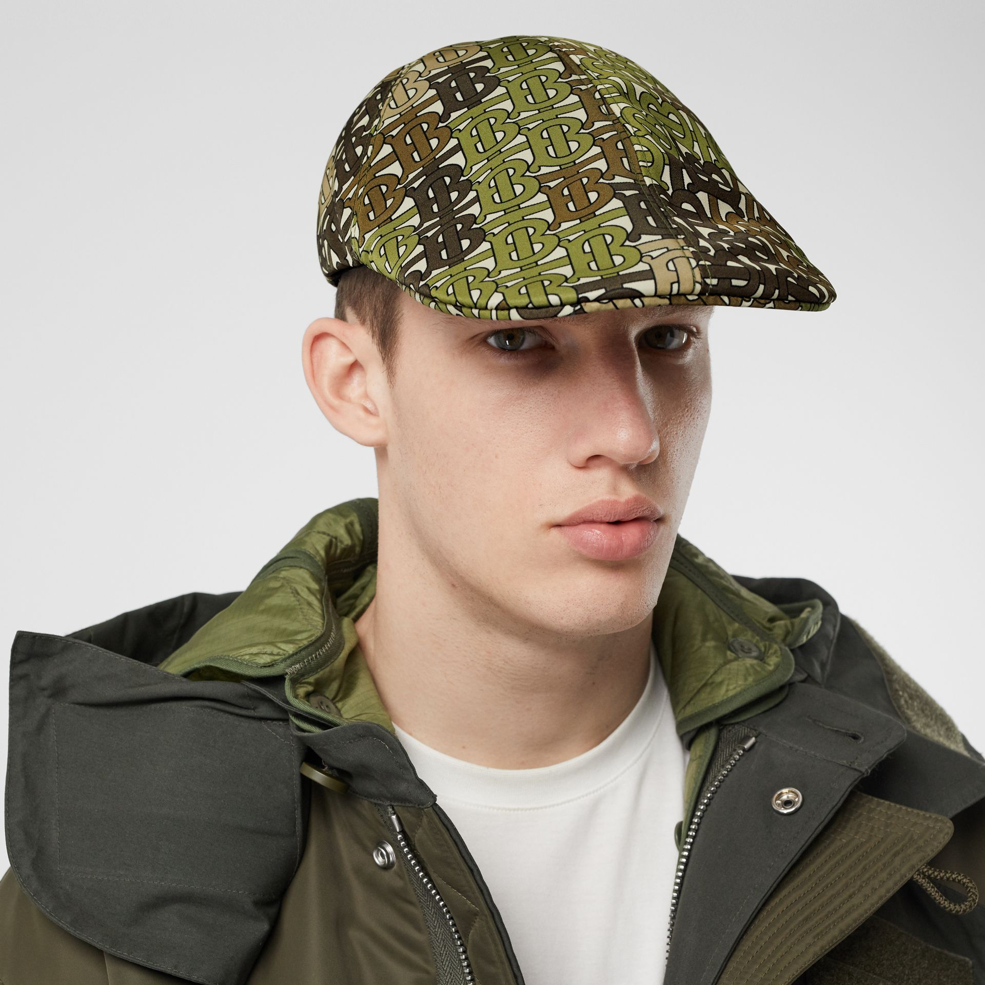 Monogram Print Nylon Flat Cap in Khaki Green | Burberry - gallery image 3