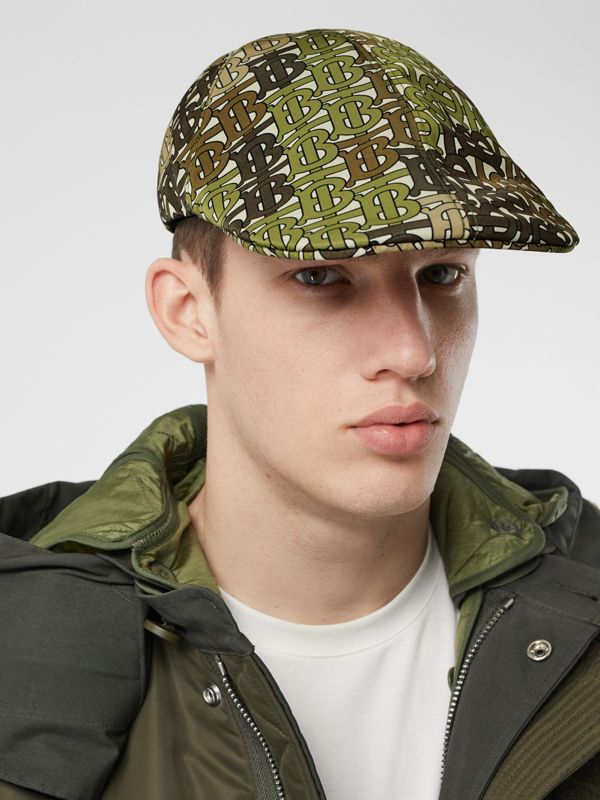 Monogram Print Nylon Flat Cap in Khaki Green | Burberry - cell image 3