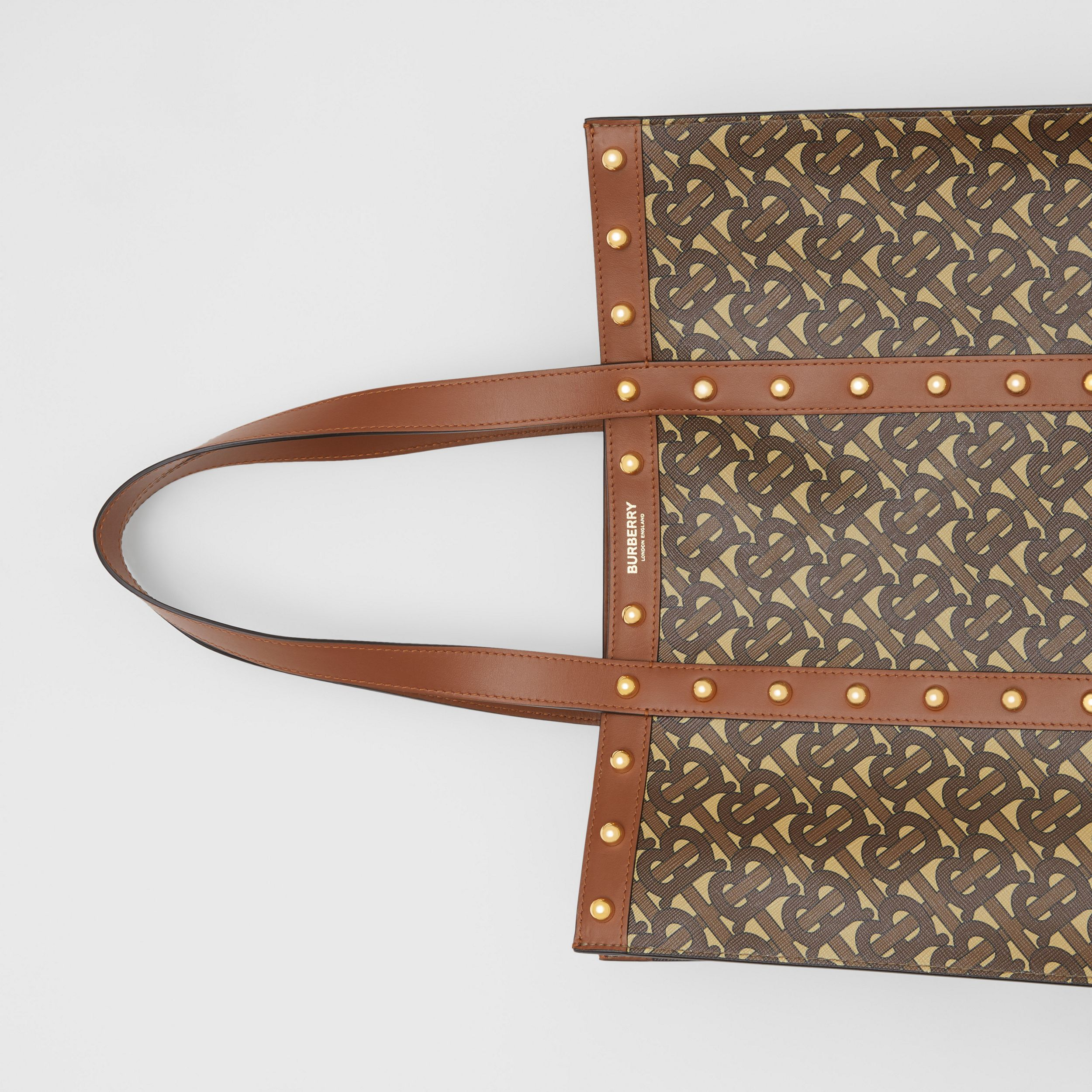 Small Monogram Print E-canvas Tote Bag in Tan | Burberry - 2