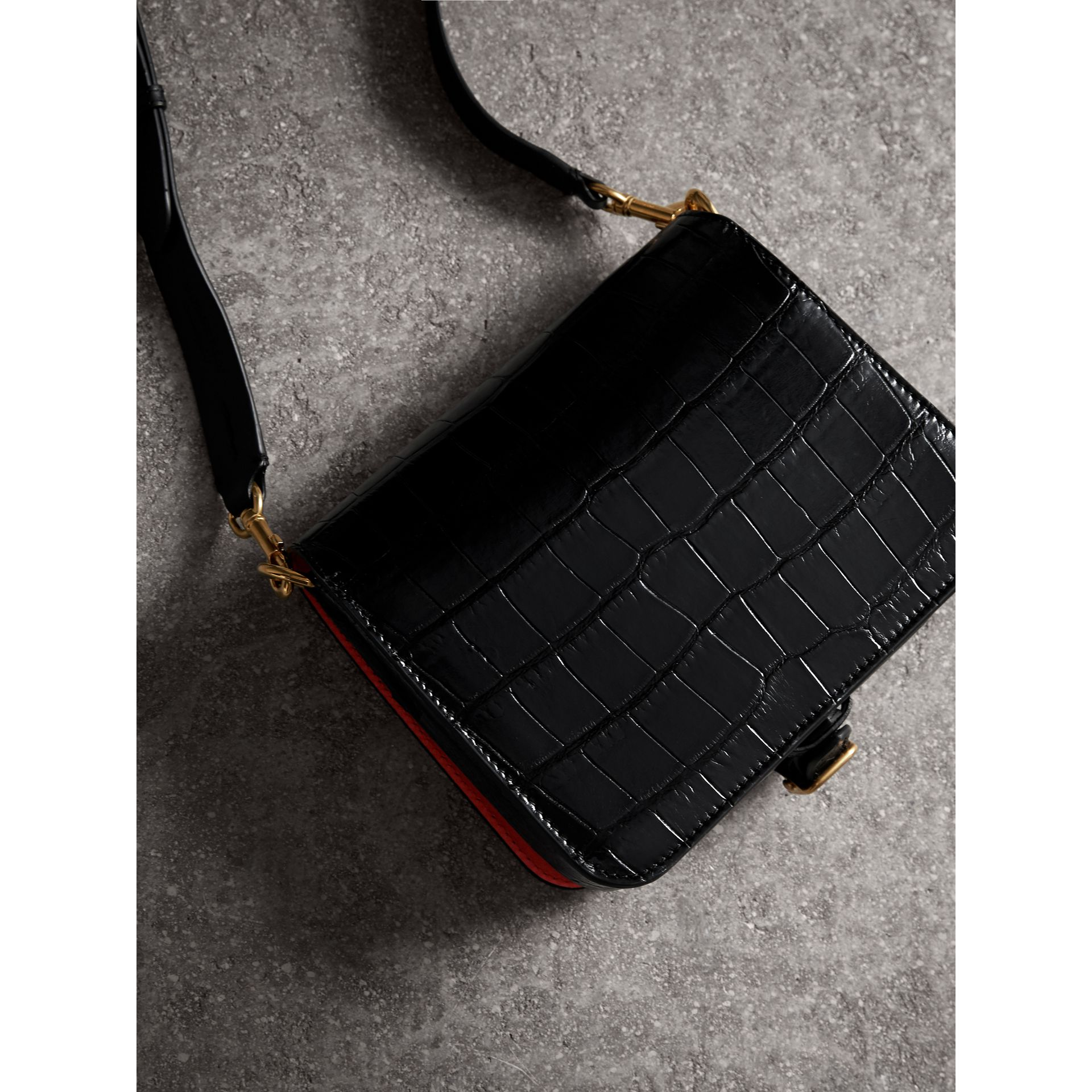The Square Satchel in Alligator in Black - Women | Burberry United Kingdom - gallery image 3