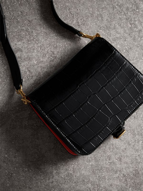 The Square Satchel in Alligator in Black - Women | Burberry United Kingdom - cell image 3