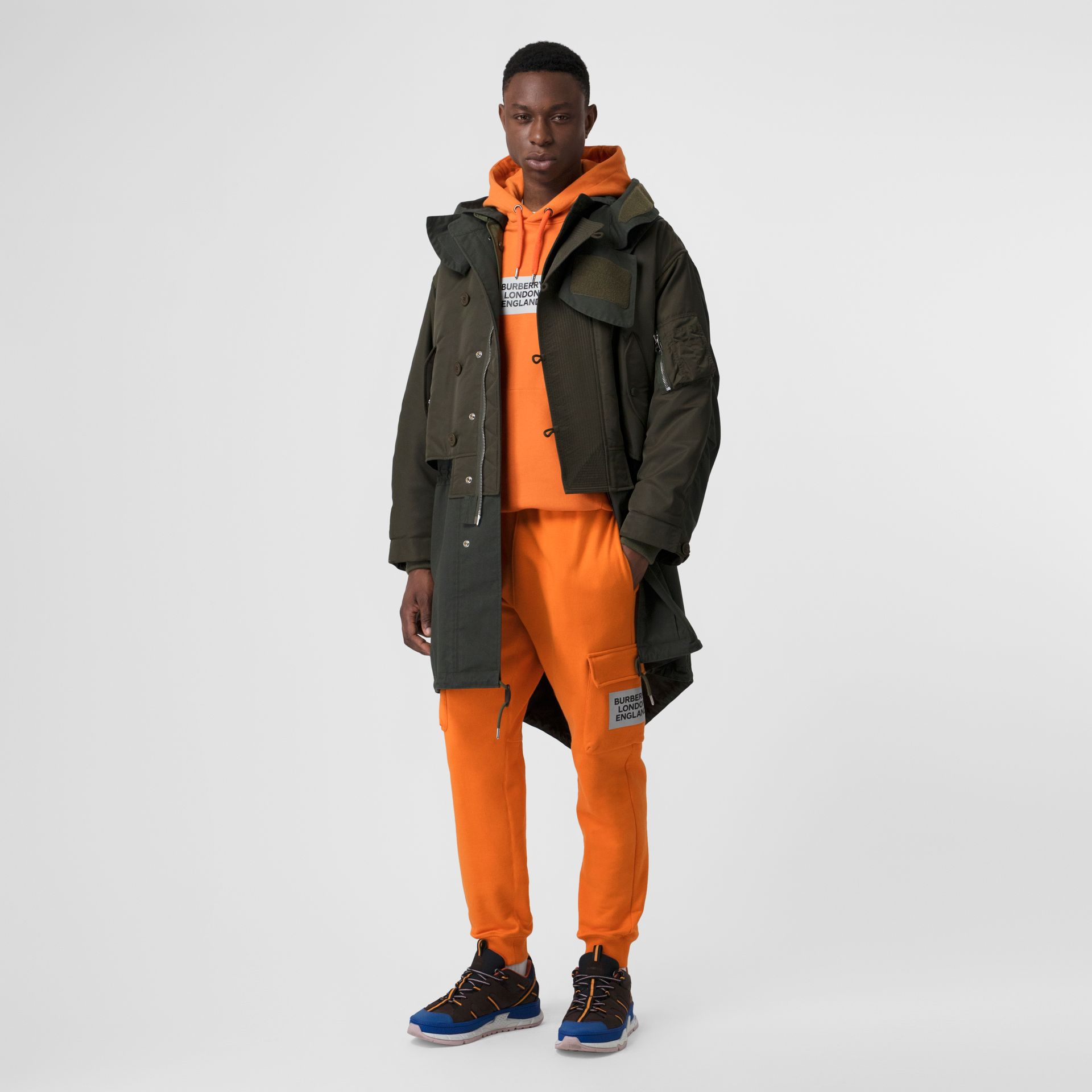 Logo Print Cotton Hoodie in Bright Orange - Men | Burberry - gallery image 4