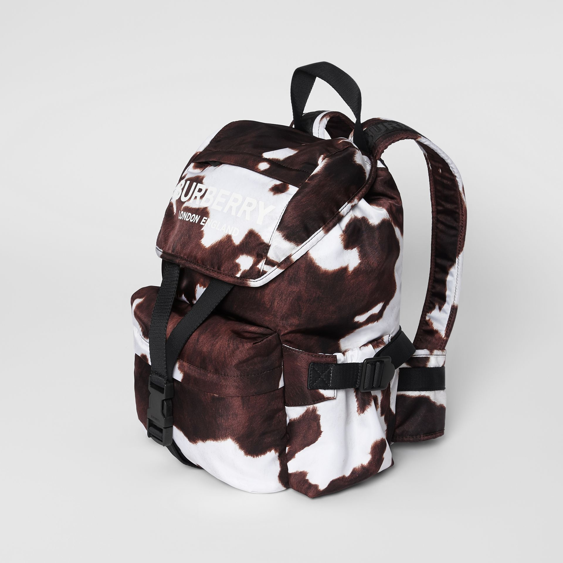 Cow Print Nylon Backpack in Mahogany - Women | Burberry - gallery image 3