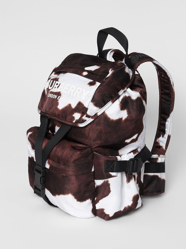 Cow Print Nylon Backpack in Mahogany - Women | Burberry United Kingdom - cell image 3