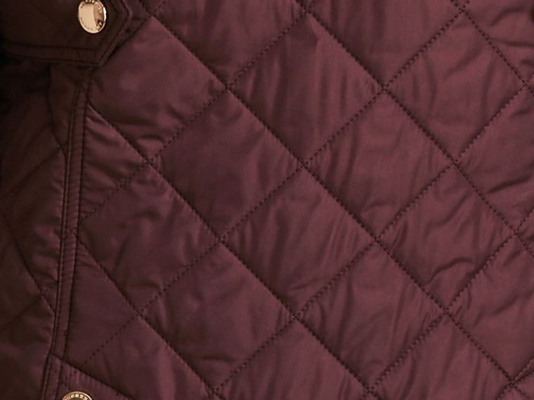 Check Detail Diamond Quilted Jacket Burgundy - cell image 1