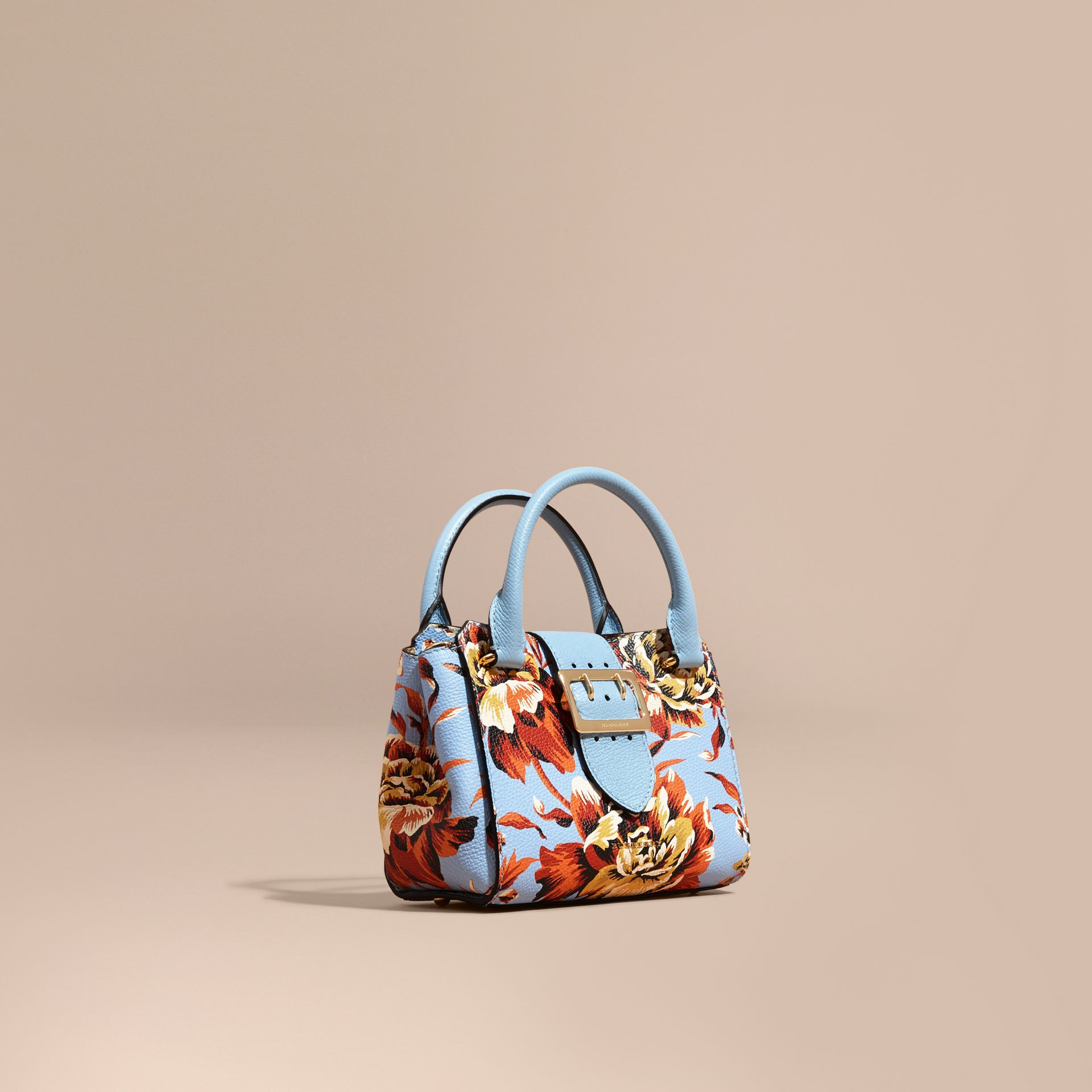 Bleu pâle/orange vif Petit sac tote The Buckle en cuir avec imprimé à pivoines roses Bleu Pâle/orange Vif - photo de la galerie 1