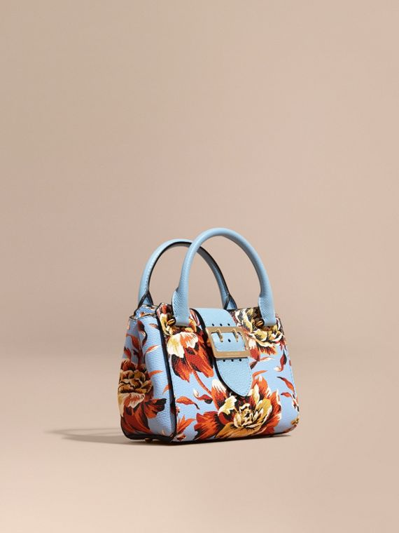 The Small Buckle Tote in Peony Rose Print Leather Pale Blue/vibrant Orange