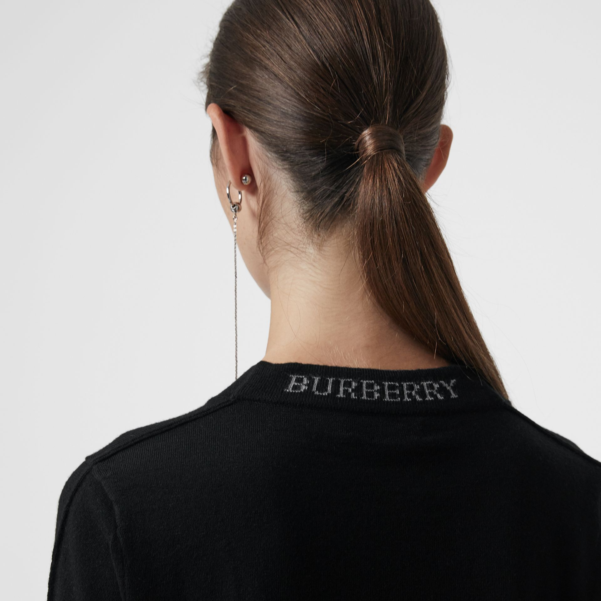 Merino Wool Crew Neck Sweater in Black - Women | Burberry United Kingdom - gallery image 1