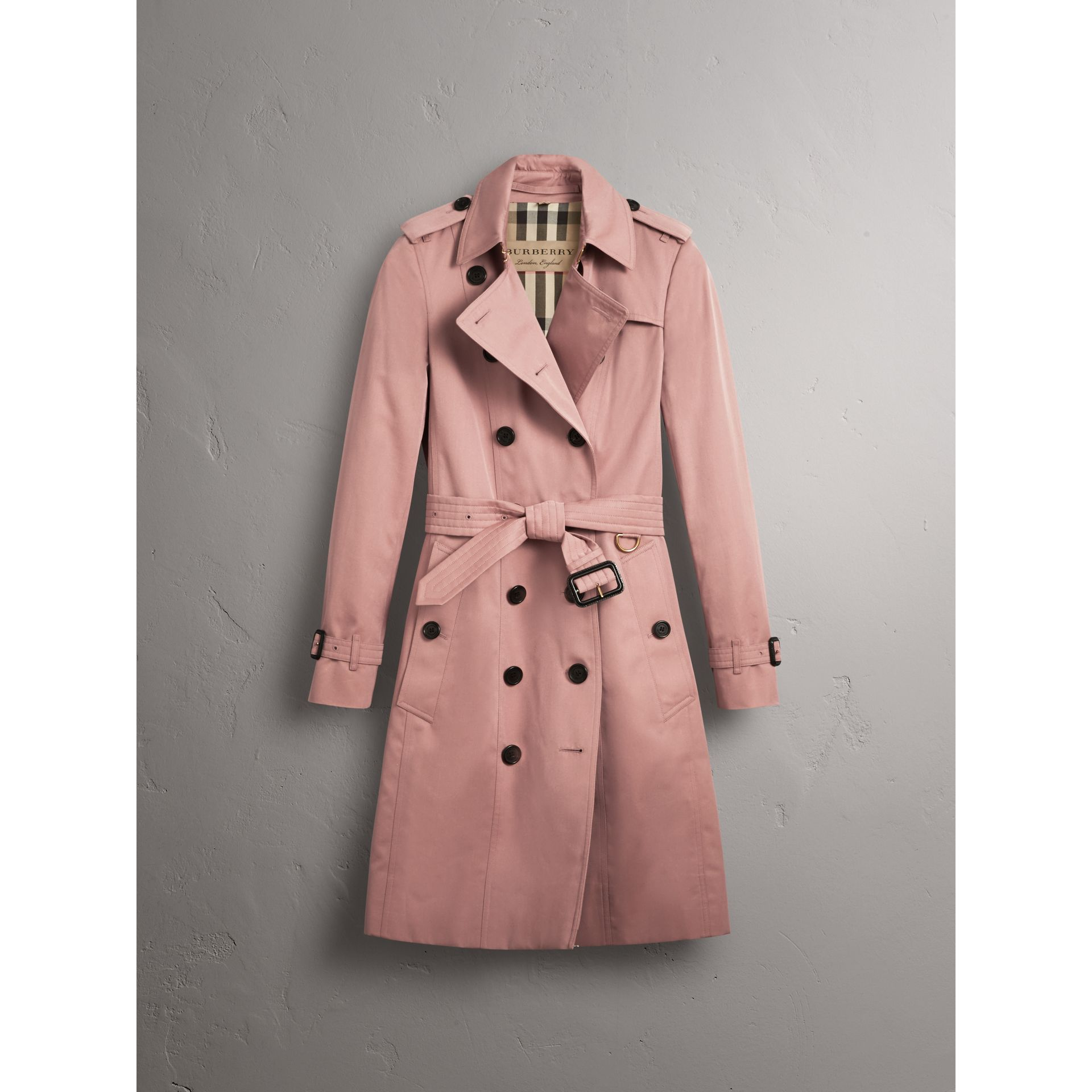 Cotton Gabardine Long Trench Coat in Blush - Women | Burberry - gallery image 2