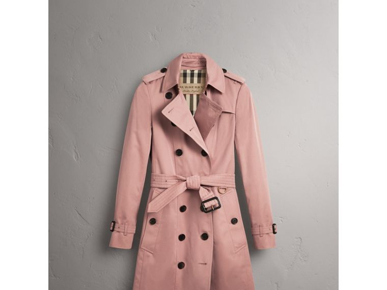 Cotton Gabardine Long Trench Coat in Blush - Women | Burberry - cell image 1