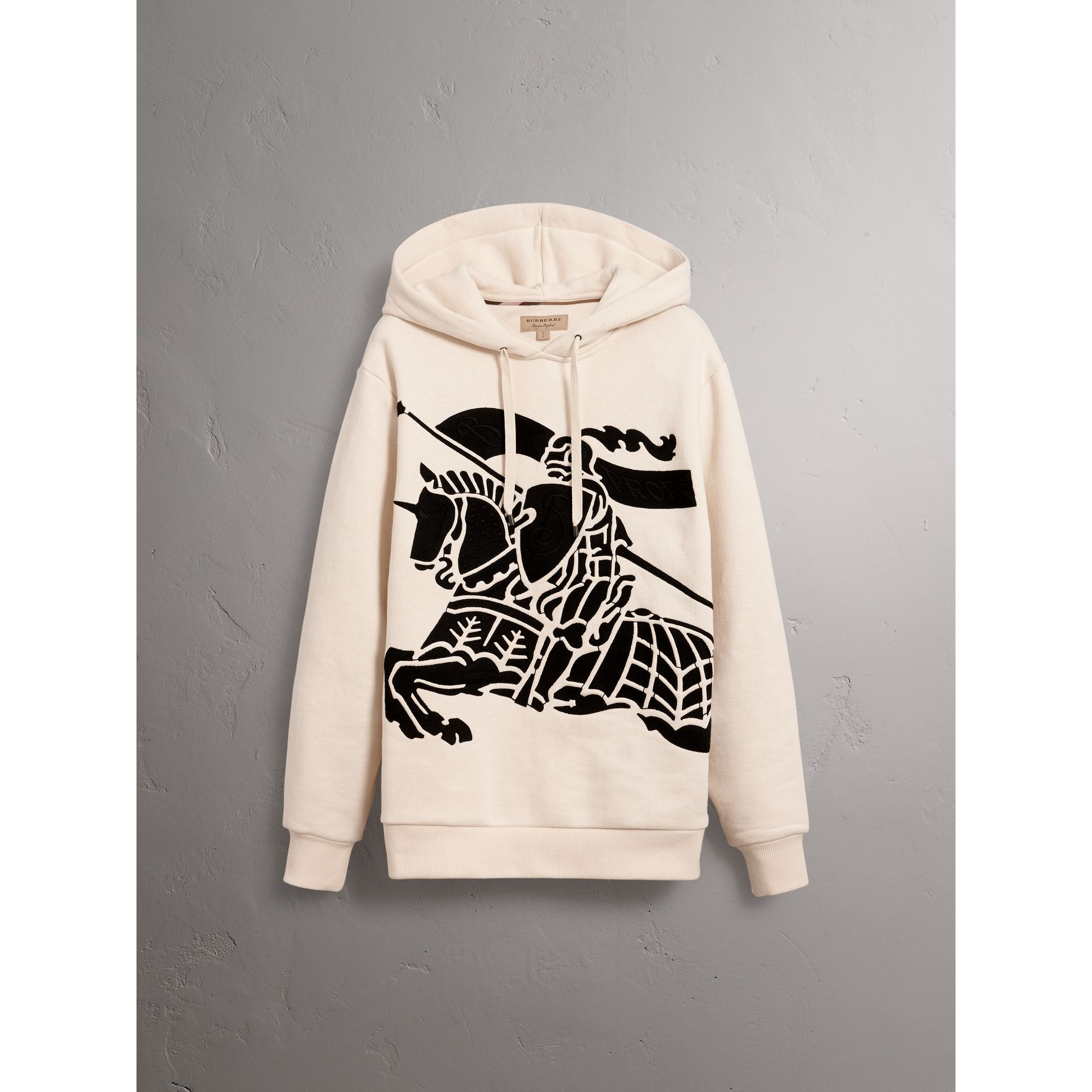 Equestrian Knight Device Cotton Hooded Sweatshirt in Natural White - Men | Burberry United Kingdom - gallery image 4