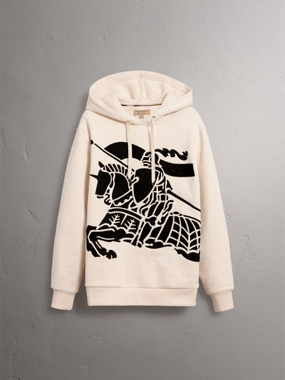Equestrian Knight Device Cotton Hooded Sweatshirt in Natural White