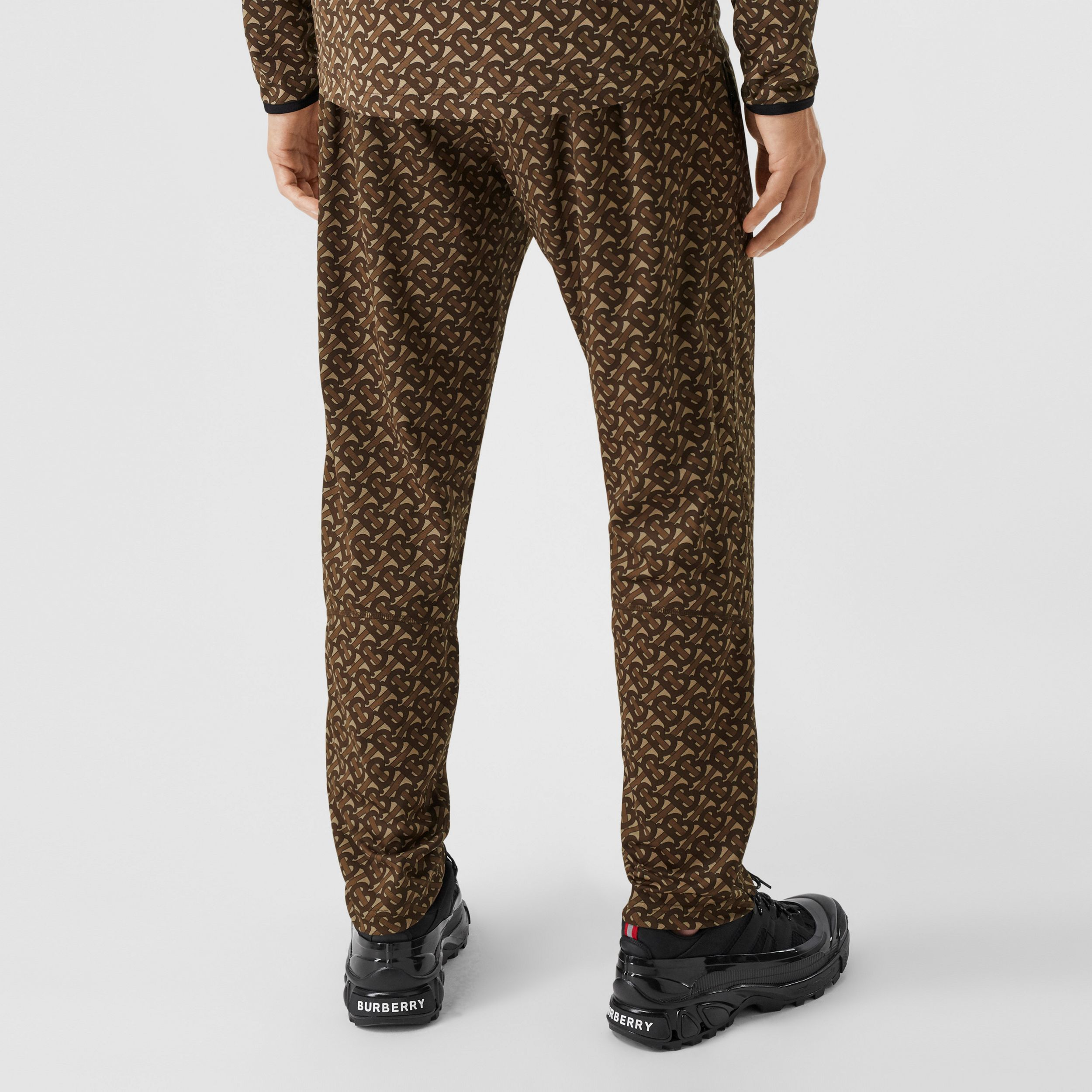 Monogram Print Technical Twill Jogging Pants in Bridle Brown - Men | Burberry Australia - 3