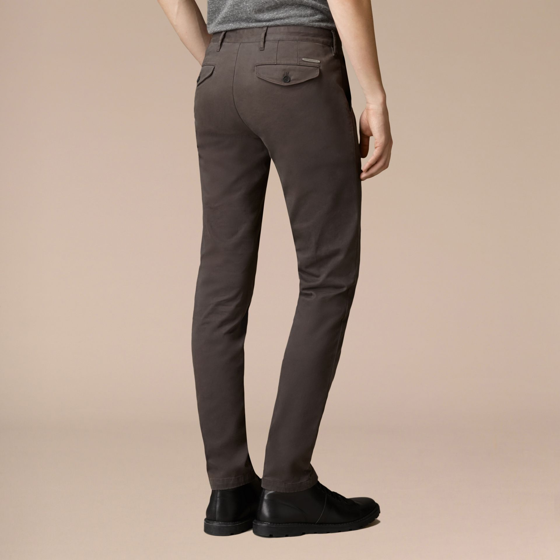 Flint Slim Fit Stretch-Cotton Twill Chinos Flint - gallery image 4