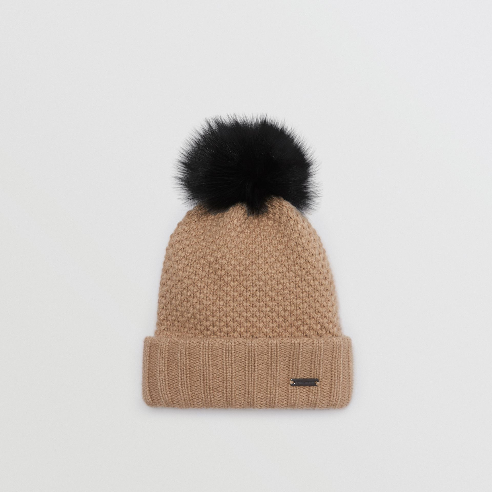 Fur Pom-Pom Wool Cashmere Beanie in Camel - Women | Burberry United States - gallery image 0