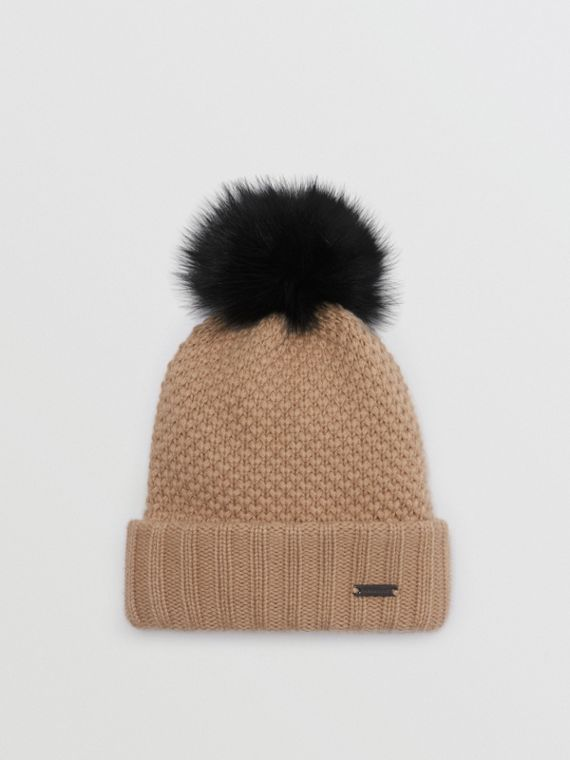 Fur Pom-Pom Wool Cashmere Beanie in Camel