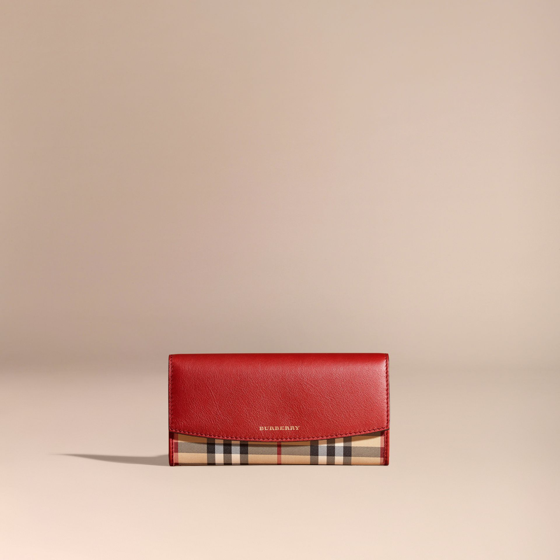 Horseferry Check and Leather Continental Wallet in Parade Red - Women | Burberry - gallery image 6