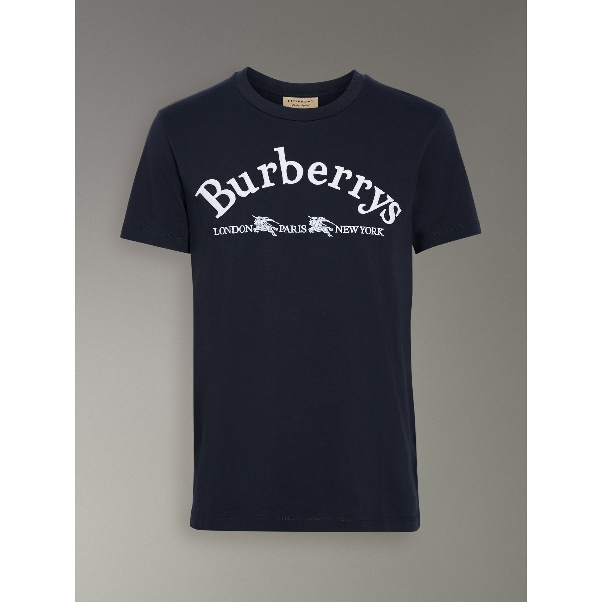 Archive Logo Cotton T-shirt in Navy - Men | Burberry - gallery image 3