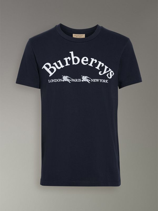 Archive Logo Cotton T-shirt in Navy - Men | Burberry Singapore - cell image 3