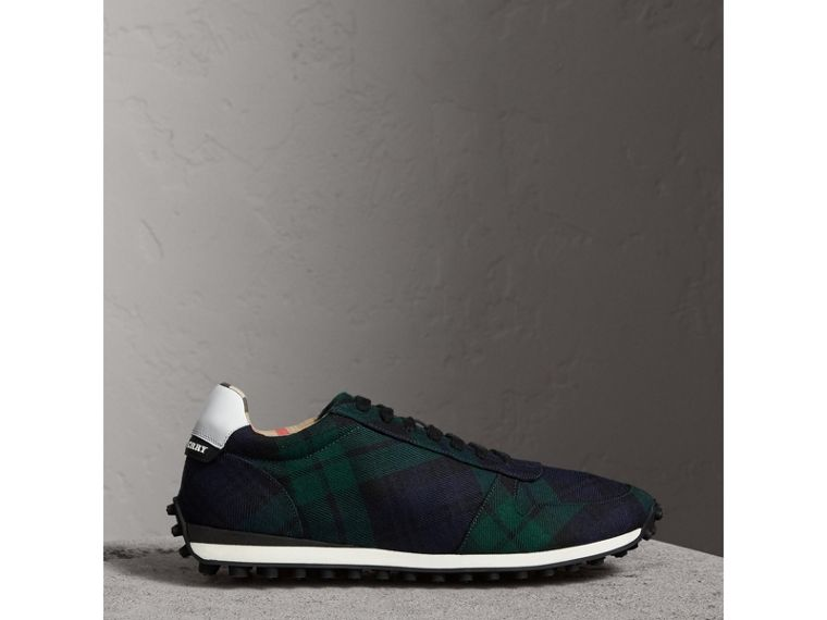 Tartan Wool Trainers in Ink Blue - Men | Burberry Singapore - cell image 4
