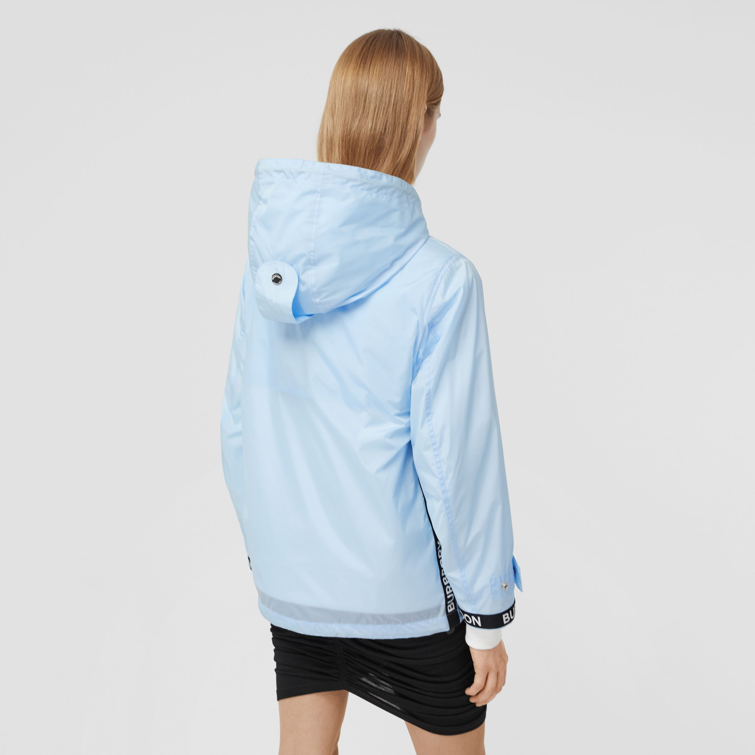 Logo Tape ECONYL® Hooded Jacket in Pale Blue - Women | Burberry - 3