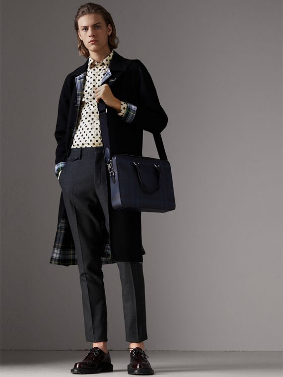 Medium Leather Trim London Check Briefcase in Navy/black - Men | Burberry United Kingdom - cell image 3
