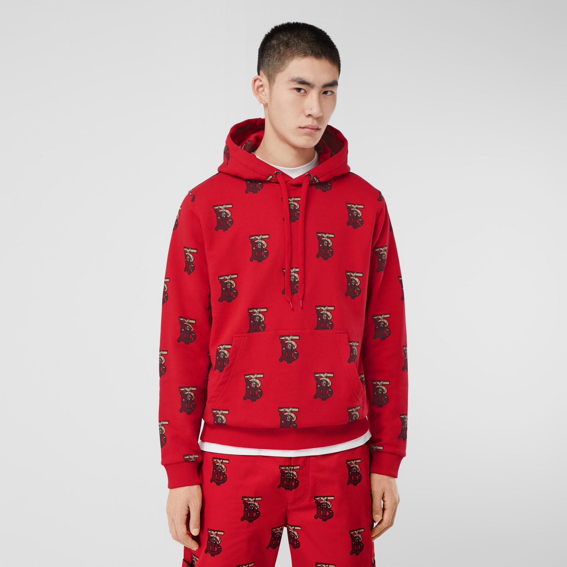 Monogram Motif Cotton Oversized Hoodie in Bright Red - Men | Burberry - gallery image 4