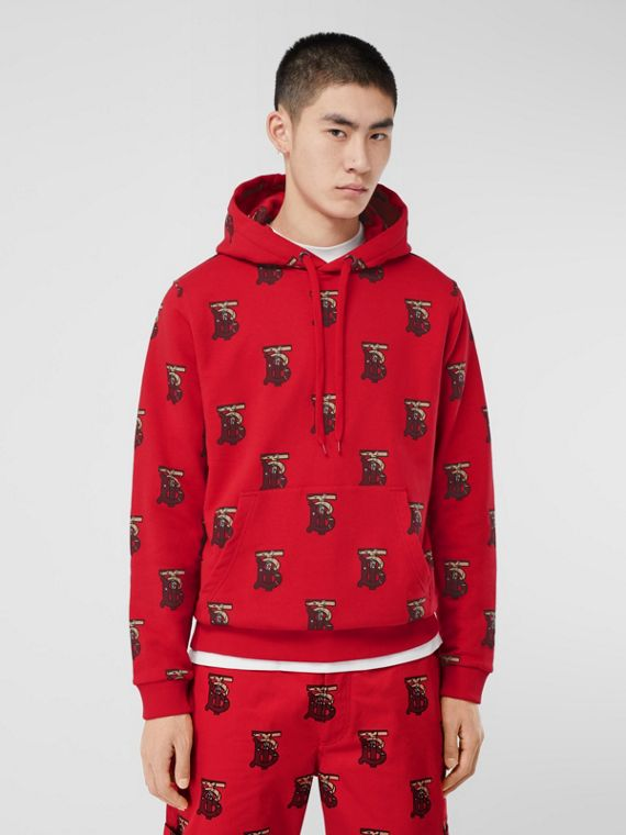 Monogram Motif Cotton Oversized Hoodie in Bright Red