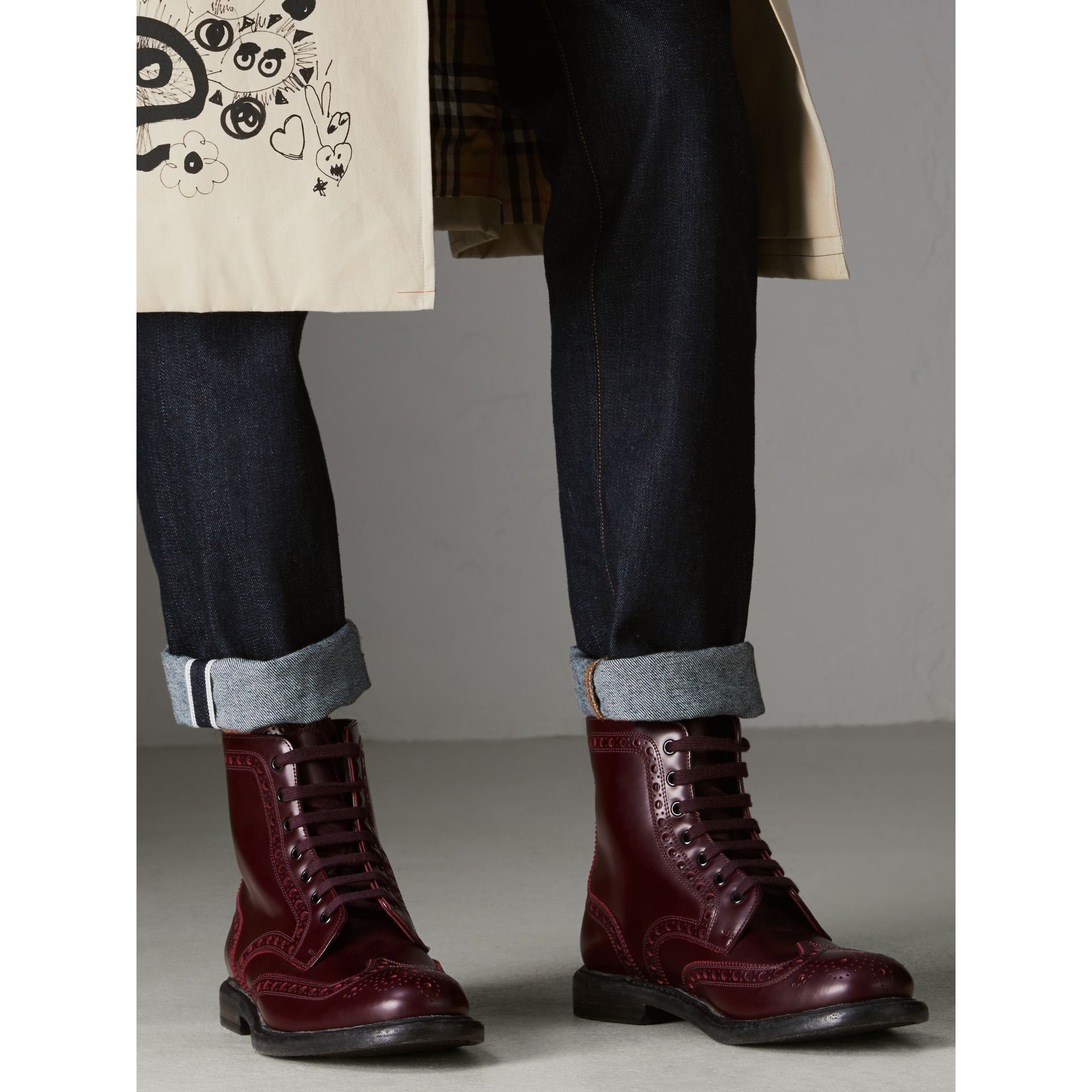 Brogue Detail Polished Leather Boots in Ebony Red - Men | Burberry Singapore - gallery image 2