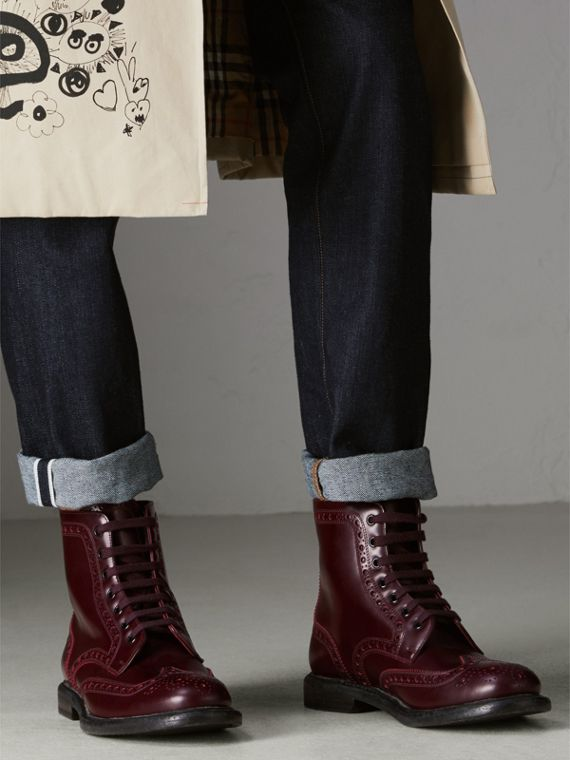 Brogue Detail Polished Leather Boots in Ebony Red - Men | Burberry Singapore - cell image 2