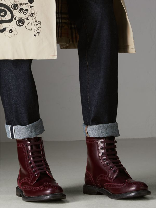 Brogue Detail Polished Leather Boots in Ebony Red - Men | Burberry - cell image 2